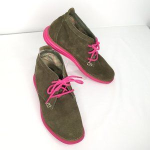 Skechers Shoe Bootie Lace Up Womens Green Pink